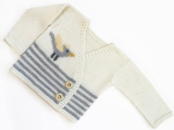 f9a8b9e7844f Hand Knit Newborn Baby Sweater   Cardigan in Off White and Light Grey  Stripes