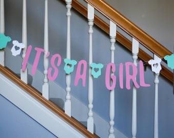 It's a GIRL banner, baby shower, baby girl shower banner