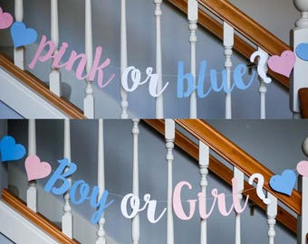 Gender reveal banner: pink or blue? or Boy or Girl?, baby gender reveal, 2 options