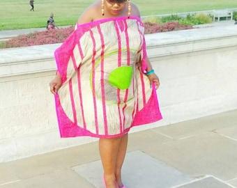 African print kaftan in pink