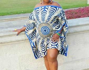 African print kaftan in blue