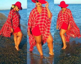 Gorgeous   tartan check  chiffon  fabric  swimsuit coverup beach wear kaftan dress in reds