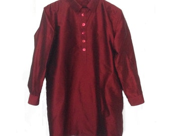 RedChineWine.Q.Pure Silk. Mother pearl buttons. Handmade. Ribbons inside. cmz collection. cmz.
