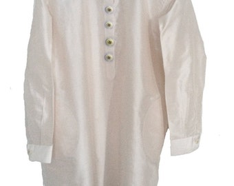 Crema 1.Q. Pure Silk. Mother pearl buttons. Handmade. Ribbons inside. cmz collection. cmz.