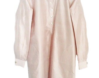 CremeRose. Pure Silk. Mother pearl buttons. Handmade. Ribbons inside. cmz collection. cmz.
