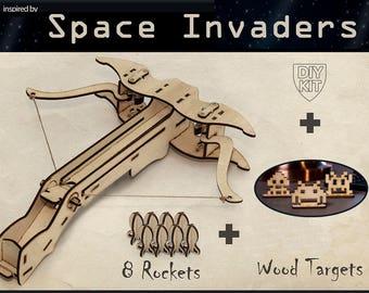 Gift For Him Video Gamer Geek Space Invaders Inspired Crossbow DIY Kit Boyfriend Birthday Christmas Geekery