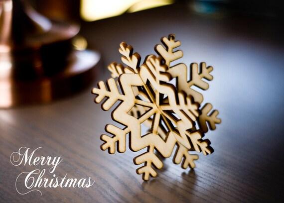 Fiocchi Di Neve Di Carta 3d : Ornamento dell albero di natale decorazione di legno etsy