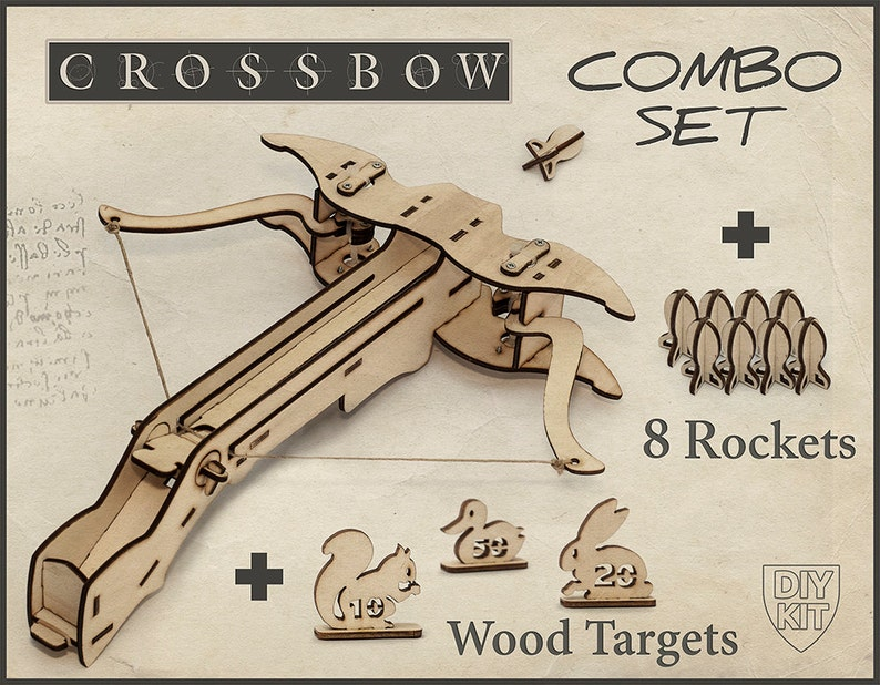 Mens Gift Wood Crossbow DIY Kit With Targets For Him