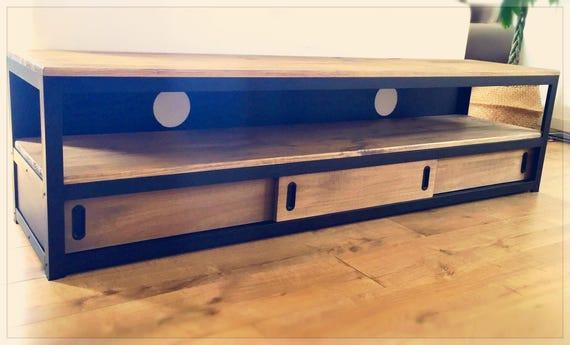 meuble tv acier et bois 3 portes coulissantes etsy. Black Bedroom Furniture Sets. Home Design Ideas