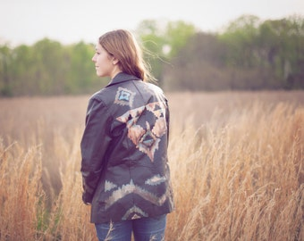 Hand painted/ Aztec/ Southwestern Indian design/ Womens Brown Leather jacket