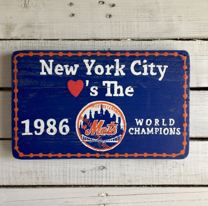 New York Mets 1986 World Series Champions Sign from Tickertape Parade
