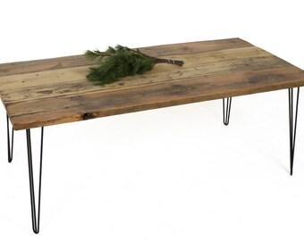 Esstisch Aus Stahl Und Holz, Tisch Aus Altholz, Ein Rustikales,  Industrielles, Zeitgenössisches Tisch, Hairpin Tischbeine, Berlin,
