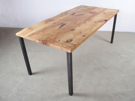 Massivholz Esstisch Mit Gerade Stahlbeinen   Zurückgefordert Holz Tisch Set  Auf Dickem Stahl Tischbeine, Handmade In Berlin, Moderne Stück