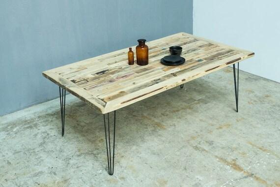 Wunderbar Holz Esstisch Mit Hairpin Tischbeine, Schreibtisch Handgefertigt, Modern  Tisch Erbaut Von Verschiedene Holzarten, Massivholz Tischplatte,