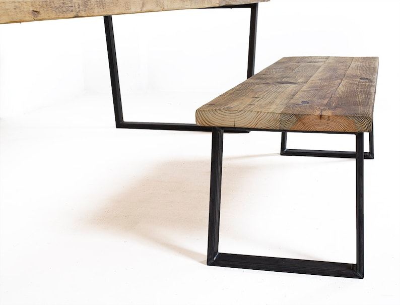 The Conference Kent Rustic Dining Table And Bench Set Handmade From Reclaimed Wood With Stable U Shaped Legs