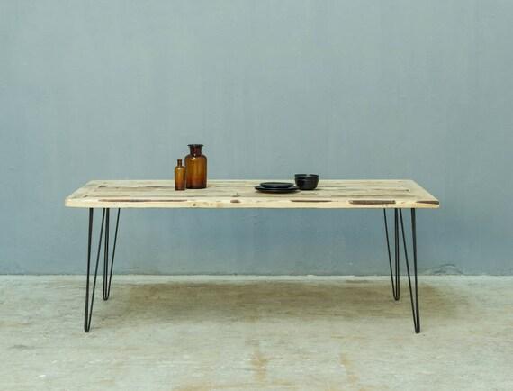 Holz Esstisch Mit Hairpin Tischbeine, Schreibtisch Handgefertigt, Modern  Tisch Erbaut Von Verschiedene Holzarten, Massivholz Tischplatte,