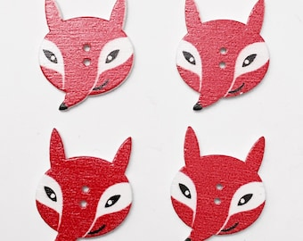 4 fox wooden buttons - WBF
