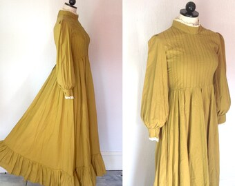 Vintage LAURA ASHLEY Made in Wales gown maxi DRESS / 1960s 70s 80s