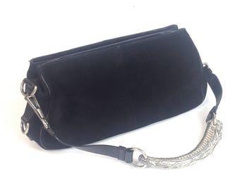 Designer YSL (Yves Saint Laurent Rive Gauche) black suede   leather HANDBAG  shoulder purse clutch bag   vtg retro vintage 1980s 90s 00s c47bbd6818ca6