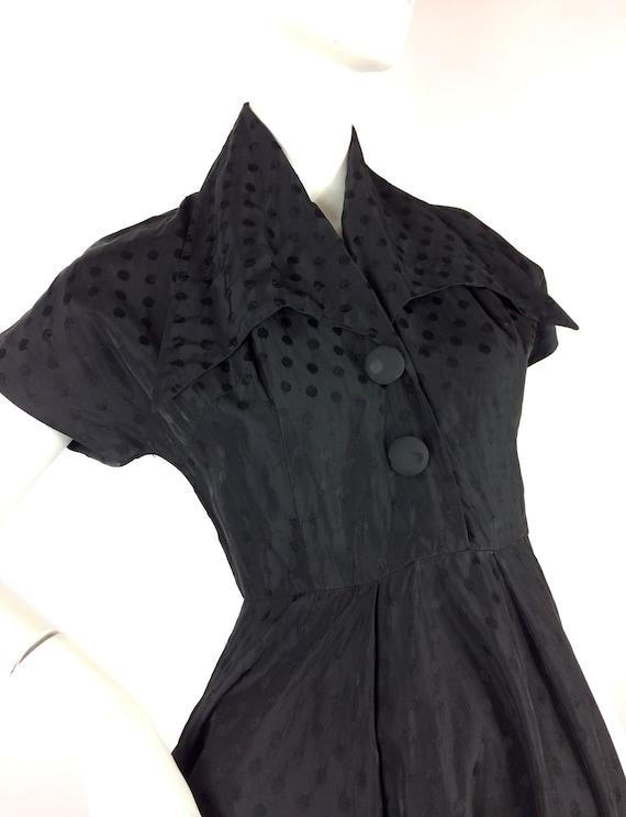 1950s vintage ink black tea dress / goth gown / D… - image 7