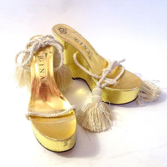 GINA designer Platform Wedge Sandal rope string ti