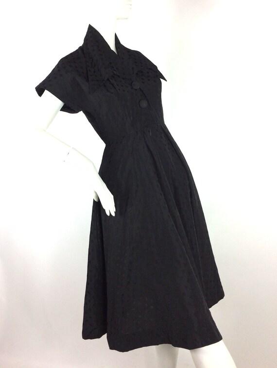 1950s vintage ink black tea dress / goth gown / D… - image 4