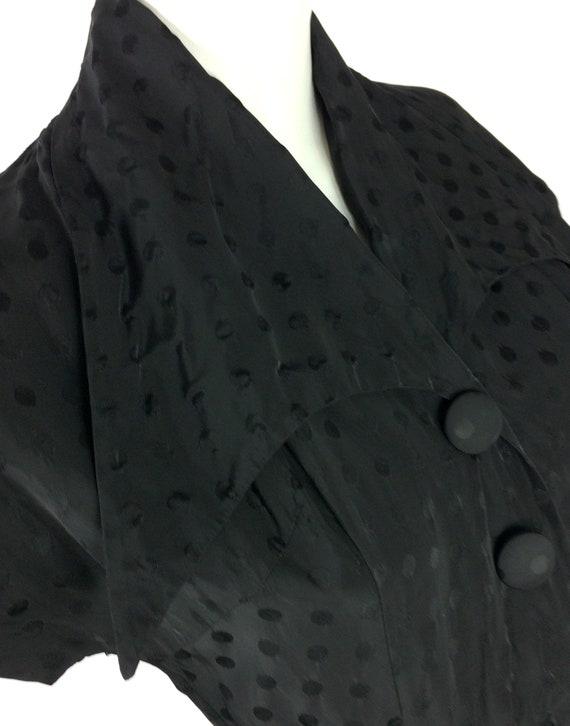 1950s vintage ink black tea dress / goth gown / D… - image 3