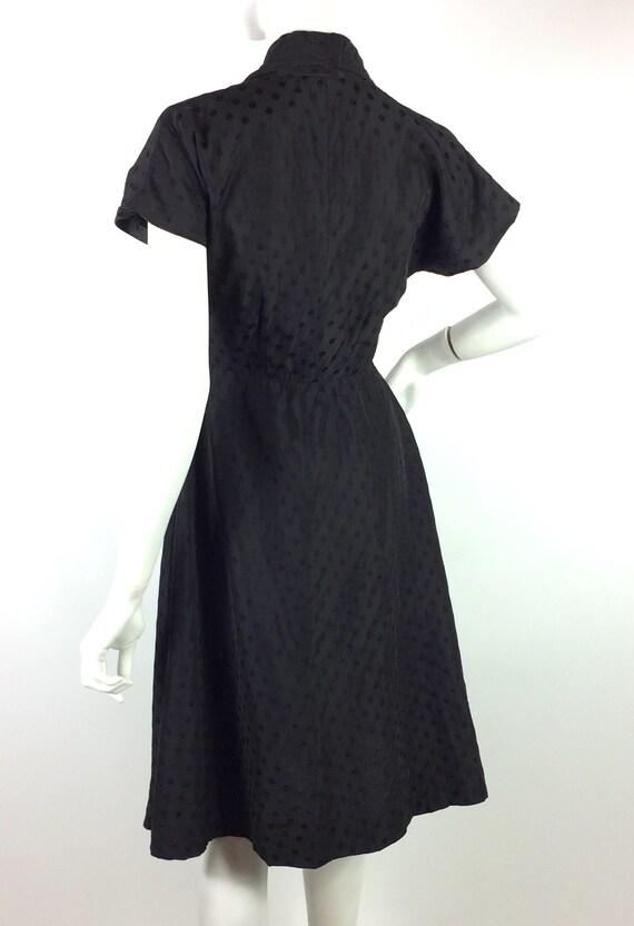 1950s vintage ink black tea dress / goth gown / D… - image 10