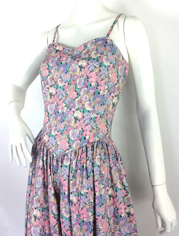 LIBERTY 80s vintage cotton tea dress / pansies / … - image 5