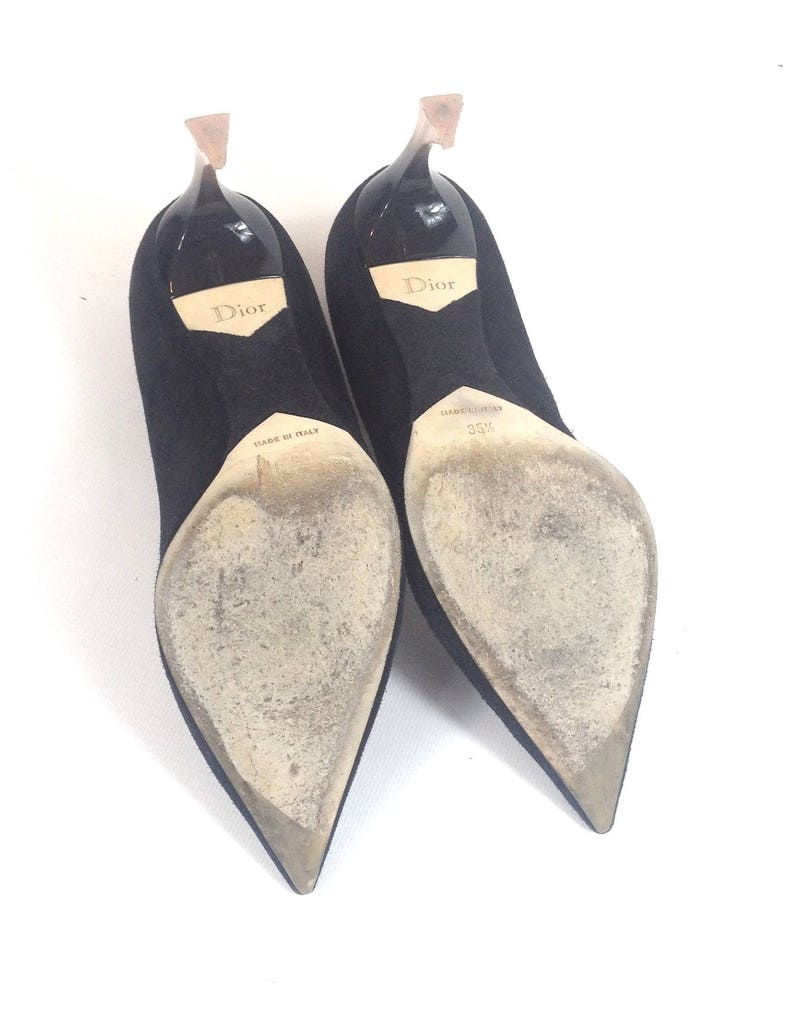 4c4a45461a750 CHRISTIAN DIOR designer black suede leather SHOES high heels stilettos  evening perspex heel