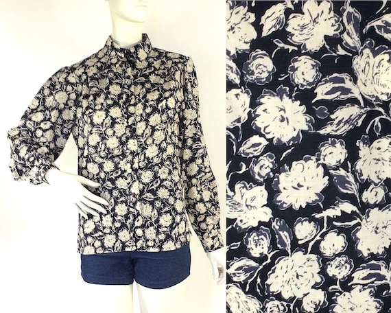 Liberty vintage 1980s bold floral wool blouse / 40