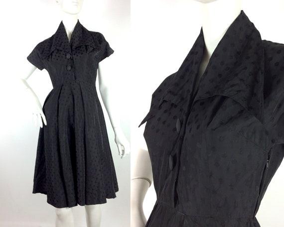 1950s vintage ink black tea dress / goth gown / D… - image 1