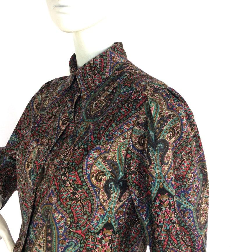 Liberty vintage 1980s paisley wool blouse  40s  costume Goodwood  Boho  Hippie  Preppy  UK 12