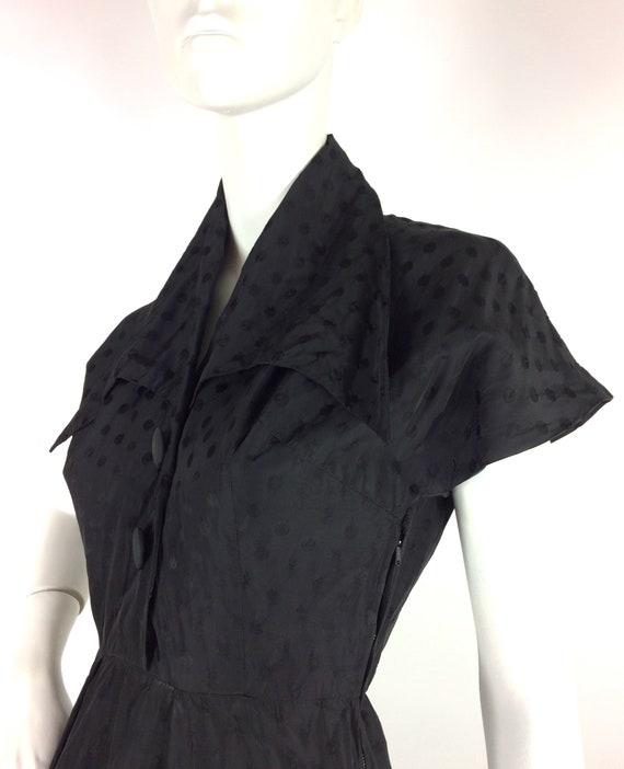 1950s vintage ink black tea dress / goth gown / D… - image 5