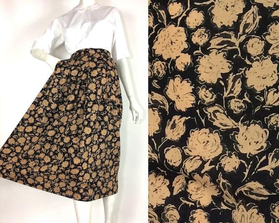 LIBERTY 80s vintage rose print wool skirt / Libert