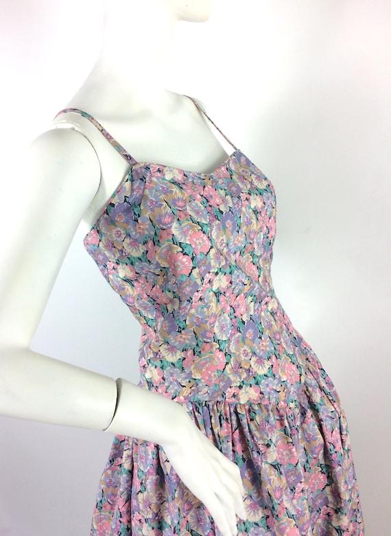 LIBERTY 80s vintage cotton tea dress / pansies / … - image 8