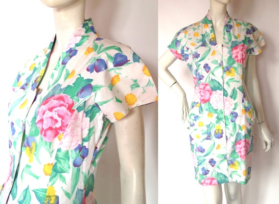 UNGARO Flower Print DRESS / 1980s  / 90s / Made in