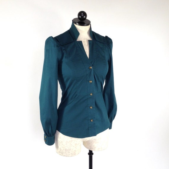 Gucci Italy tailored cotton blouse / shirt / work