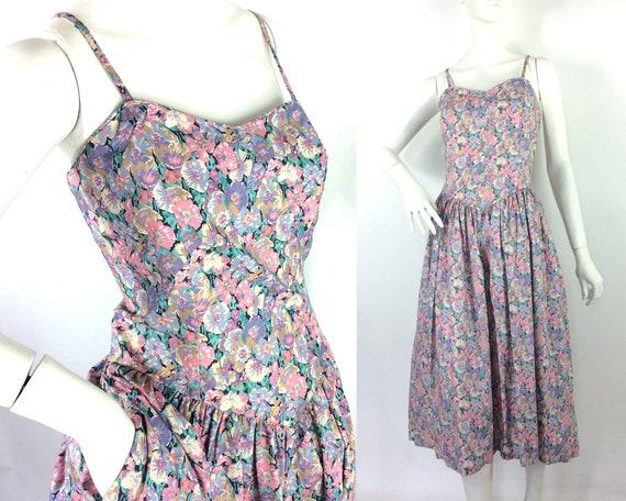 LIBERTY 80s vintage cotton tea dress / pansies / … - image 1