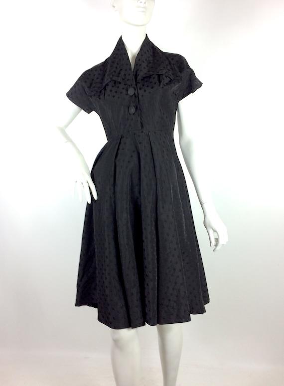 1950s vintage ink black tea dress / goth gown / D… - image 6