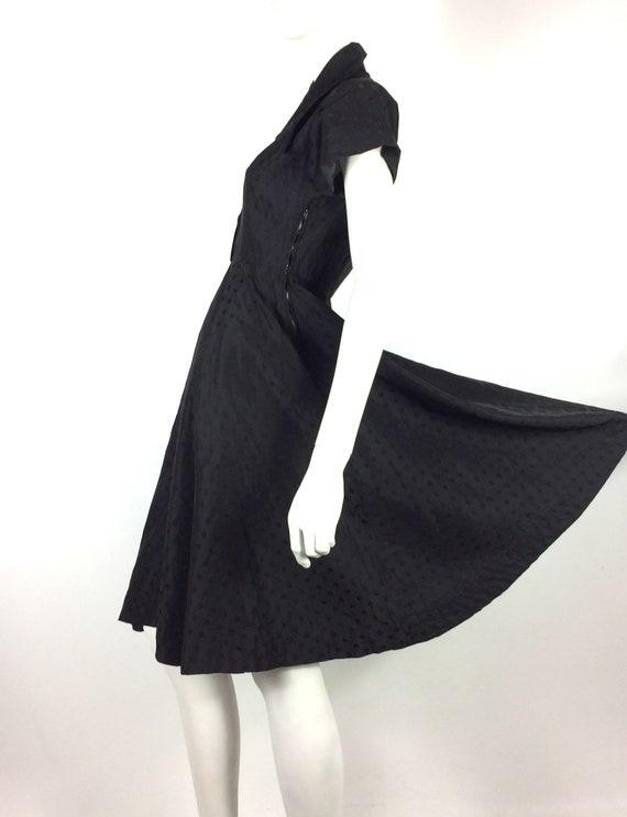 1950s vintage ink black tea dress / goth gown / D… - image 2