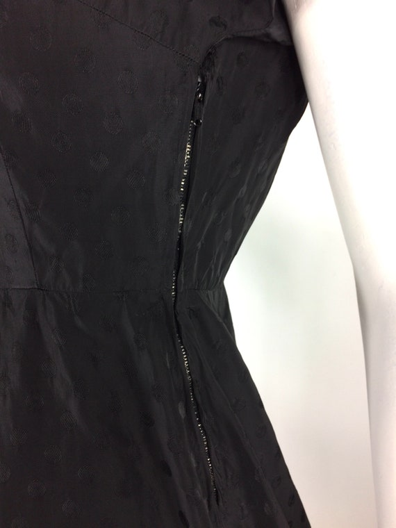 1950s vintage ink black tea dress / goth gown / D… - image 9