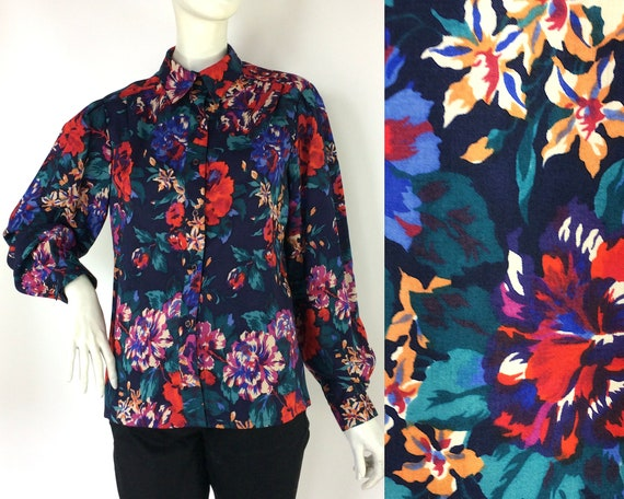 Vintage 1980s bold floral LIBERTY wool blouse /40s