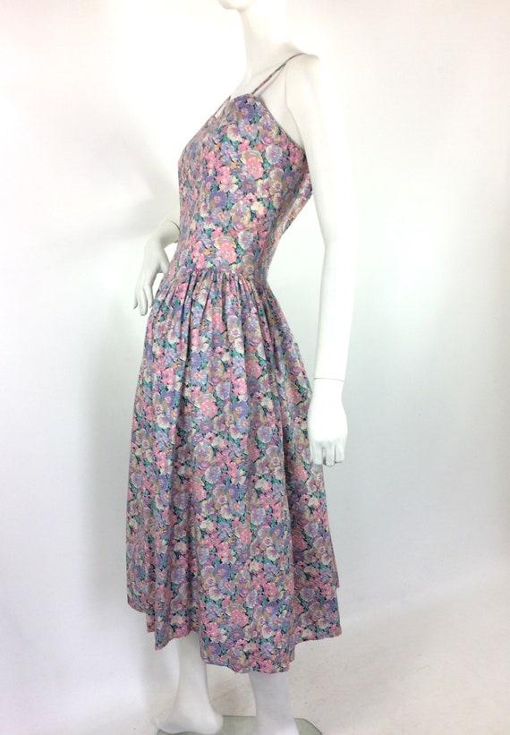 LIBERTY 80s vintage cotton tea dress / pansies / … - image 4