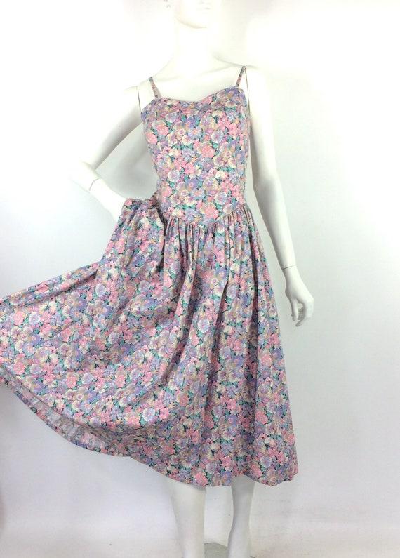 LIBERTY 80s vintage cotton tea dress / pansies / … - image 2
