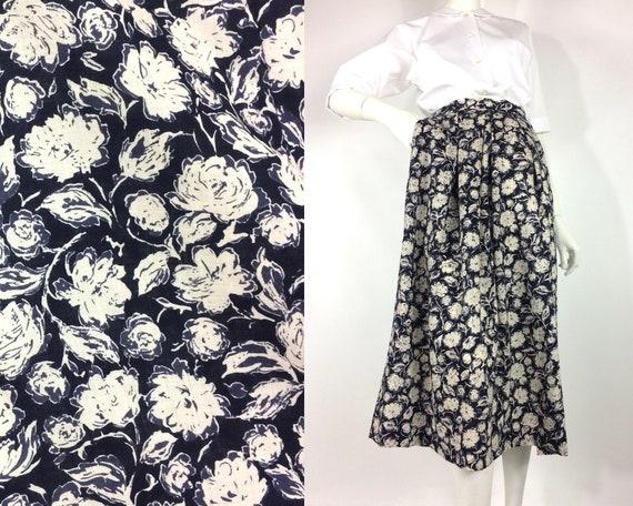 LIBERTY 1980s vintage rose print wool skirt / Libe