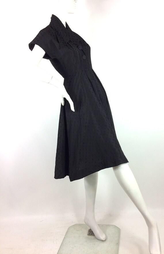 1950s vintage ink black tea dress / goth gown / D… - image 8