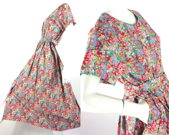 LIBERTY 80s cotton tea dress / tea dress / Vintage