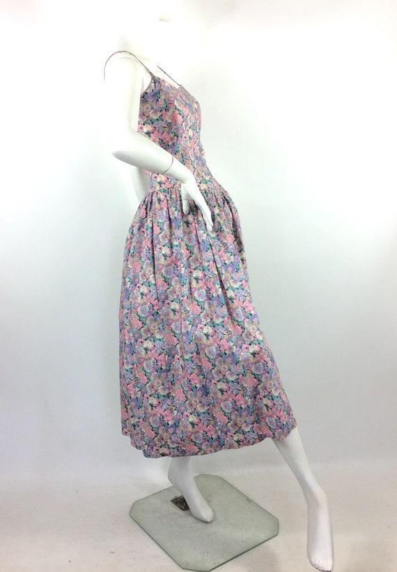 LIBERTY 80s vintage cotton tea dress / pansies / … - image 7