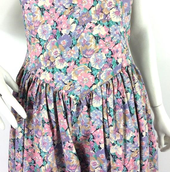 LIBERTY 80s vintage cotton tea dress / pansies / … - image 6